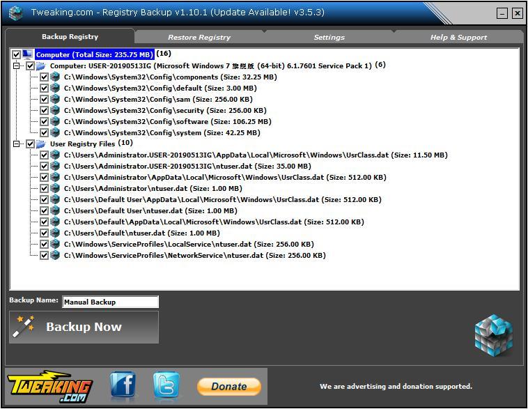 Registry Backup下载_Registry Backup(注册表备份软件) V3.4.1 英文安装版 下载