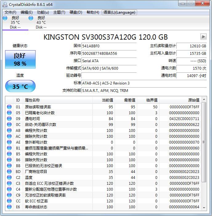 CrystalDiskInfo绿色版下载_CrystalDiskInfo(硬盘检测工具) V8.6.1 中英文绿色安装版 V8.6